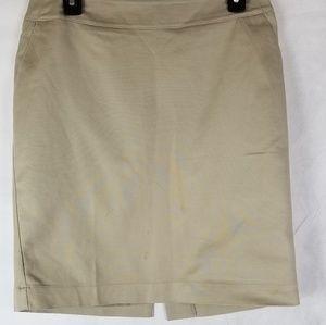 Women Merona Khaki Stretch Lined Pencil Skirt sz 6